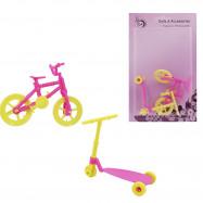 Самокат и велосипед для маленьких кукол до 15 см